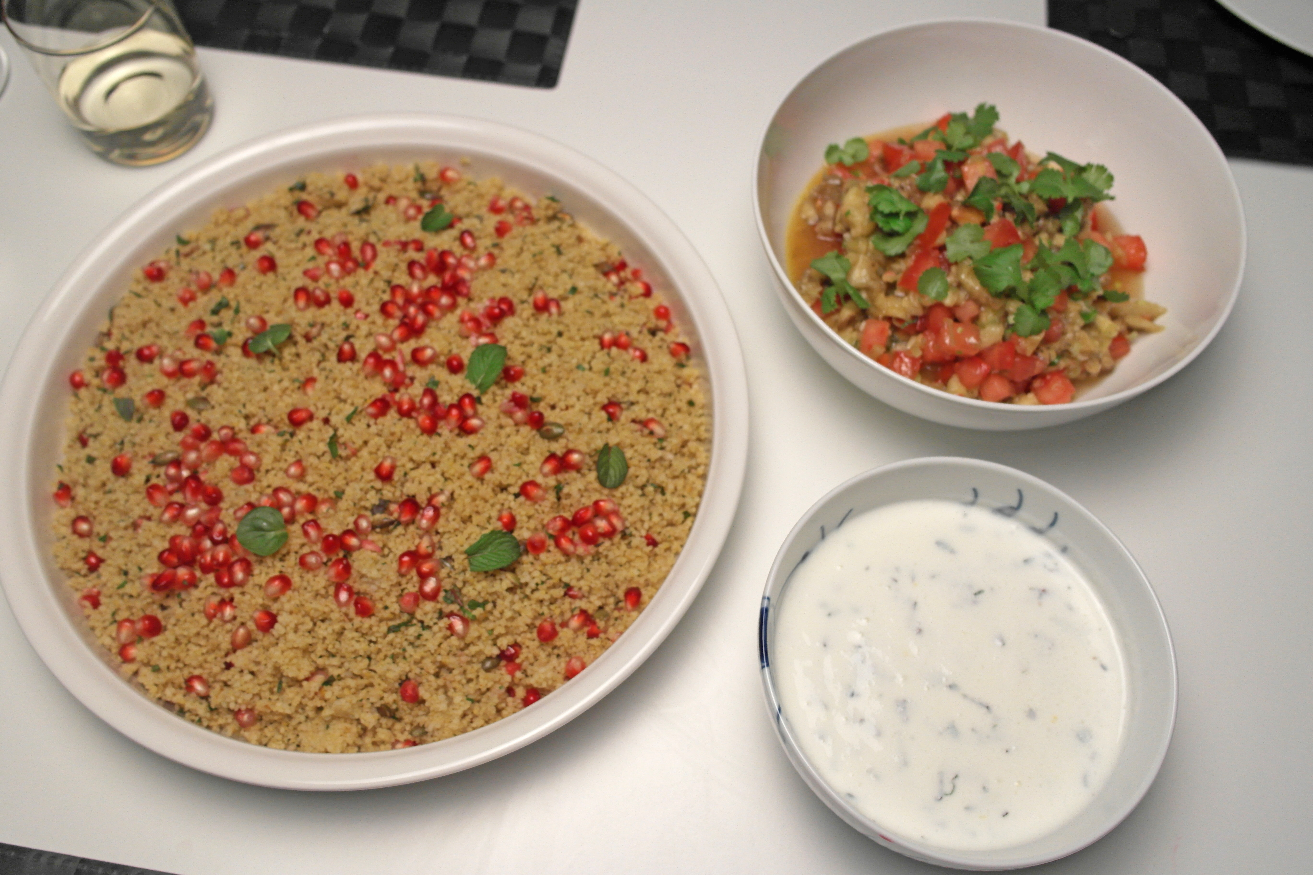 Couscous salad with yoghurt-feta dressing (and tomato-eggplant salad)