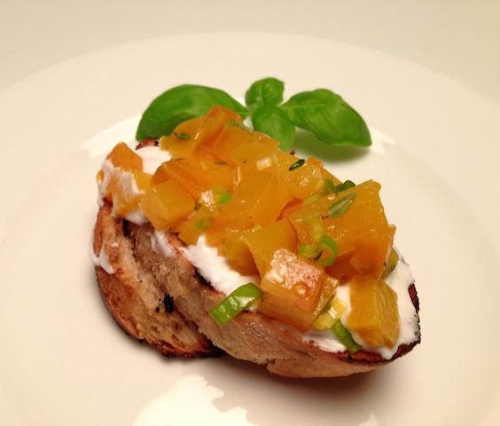 yellow beetroot bruschette