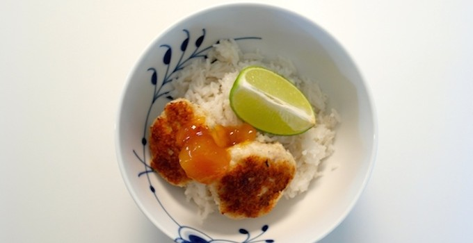 Chicken meatballs with coconut rice and mango chutney