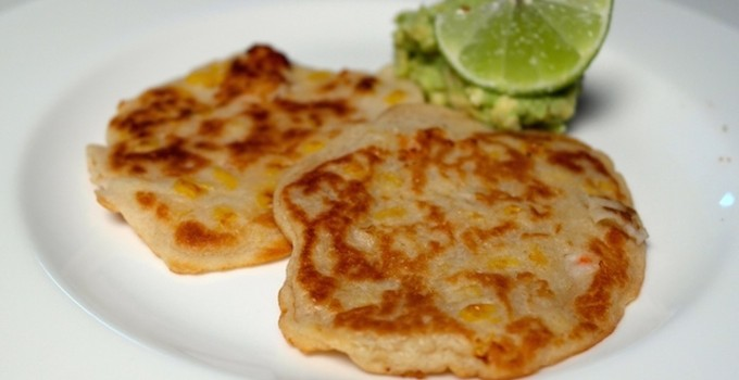 Shrimp Corn Pancakes with Guacamole