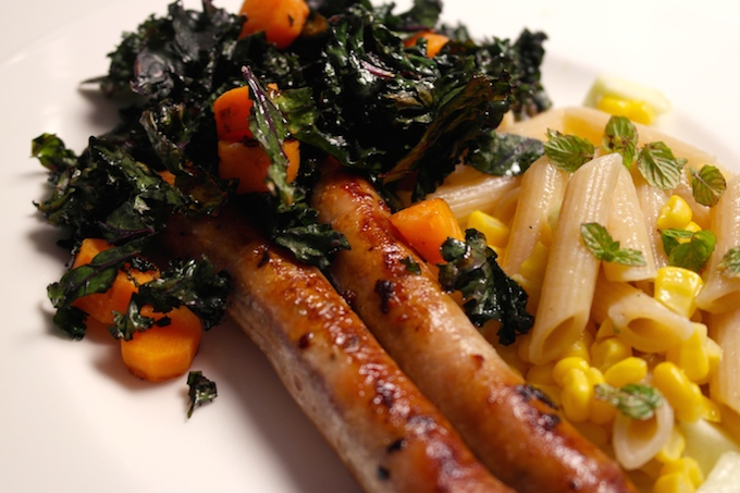 sausages curly kale