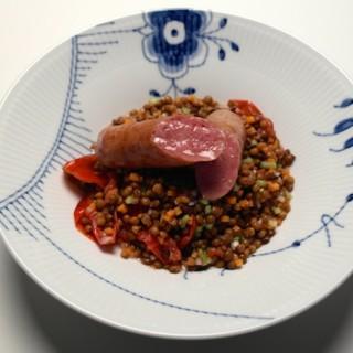 kålpølse lentil salad