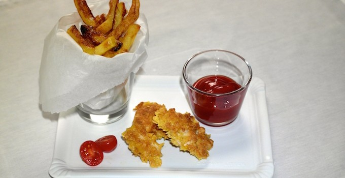 Home-made Chicken Nuggets and French Fries