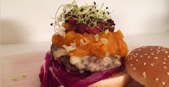 Beef Burger with Sweet Potato Mash, Chorizo and Gruyère