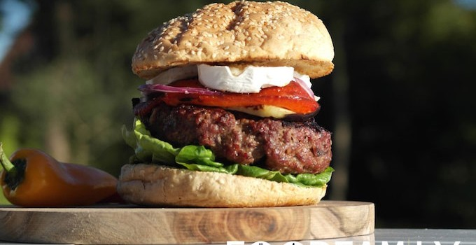 Mediterranean Burger –  with grilled veggies, goat cheese… and beef